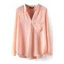 Pink V-Neck Long Sleeve Pocket Blouse
