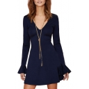 Blue V-Neck Long Flare Sleeve Mini Dress