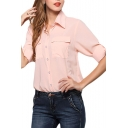 Pearl Pink Double Pockets Front Chiffon Shirt