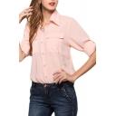Pearl Pink Double Pockets Front Chiffon Shirt
