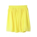 Plain Elastic Waist Chiffon Skirt
