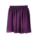 Elastic Waist Pleated Chiffon Skirt