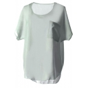 Light Green Short Sleeve Pocket Chiffon Blouse