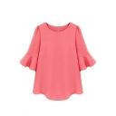 Pink 1/2 Ruffle Sleeve Loose Chiffon Blouse