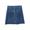 Plain Denim Buttons Detail Full A-Line Skirt