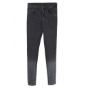 Black Faded Zipper Fly Pencil Jeans with Mid Waist