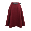 Plain High Waist Wool Belted Midi Skirt