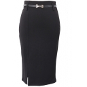 Plain Belted Midi Pencil Skirt with Side Split