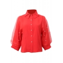 Plain Organza Beaded Lapel 3/4 Sleeve Length Shirt