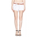 White Casual Loose Cuffed Denim Hot Shorts