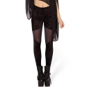 Velvet&Mesh Panel Geometric Pattern Black Leggings