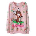 Floral Baby Deer Print Velvet Inside Round Neck Long Sleeve Sweatshirt