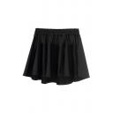 Elastic Waist PU Skater Skirt