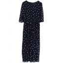 Vintage Polka Dot Slim High Waist 1/2 Sleeve Chiffon Longline Dress