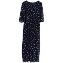 Vintage Polka Dot Slim High Waist 1/2 Sleeve Chiffon Longline Dress