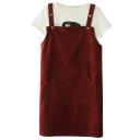 Japanese Style Plain Big Pocket Front Button Embellish Corduroy Slip Dress