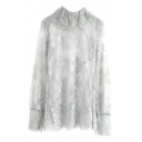 Gray Delicate Lace Embroidered Illusion Style High Collar Blouse