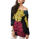 Long Sleeve Flower Beaded Embellish Smock Blouse