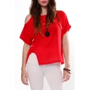 Plain Chiffon Cutout Shoulder Side Split Top with Dip Hem