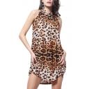 Keyhole Back Leopard Print Sexy Mini Sleeveless Dress