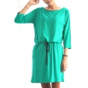 Plain Drawstring Waist 3/4 Sleeve Cotton Round Neck Dress