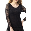 Black Cutout Lace Crochet Long Sleeve Round Neck Top