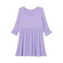 Purple Plain Ruffle Half Sleeve Fitted Dress