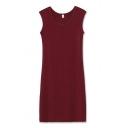 Round Neck Burgundy Modal Tanks Dress