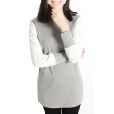 Color Block Round Neck Long Sleeve Tunic Tee