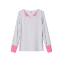Color Block Lapel Long Sleeve Tee with Contrast Cuffs