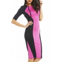 Color Block Round Neck 1/2 Sleeve Midi Dress