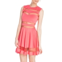 Pink Sheer Round Neck Sleeveless Pleated Dress