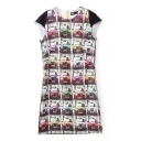 Car Print Cap Sleeve Round Neck Zipper Back Shift Dress