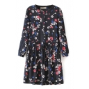 Button Fly Embellish Drawstring Waist Long Sleeve Flora Print Black Dress