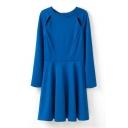 Royal Blue Long Sleeve Cutout Shoulder A-line Dress
