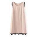 Pink Sleeveless Round Neck Lace Trim Dress