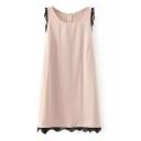 Pink Sleeveless Round Neck Lace Trim Dress