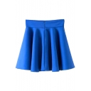 Blue Plain High Rise Ruffle Hem Pleated Skirt