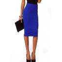 Plain Split Hem Midi Pencil Skirt