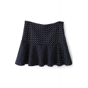 Navy Heart Pattern Ruffle Hem Pleated Skirt