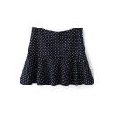 Navy Heart Pattern Ruffle Hem Pleated Skirt