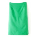 Green Plain Split Hem Zippered Pencil Skirt
