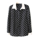 Black Long Sleeve Animal Polka Dot Print Blouse