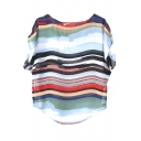 Stripe Print Short Sleeve Chiffon Blouse
