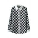 Mono Check Long Sleeve Point Collar Shirt