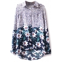 Floral Print Long Sleeve High Low Hem Blouse