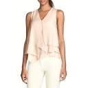 Pink V-Neck Sleeveless Ruffle Layer Chiffon Blouse