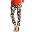 Vintage Floral Print Harem Pants