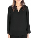 Black V-Neck Long Sleeve High Low Hem Blouse