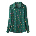 Dark Green Long Sleeve Stars Print Fitted Blouse